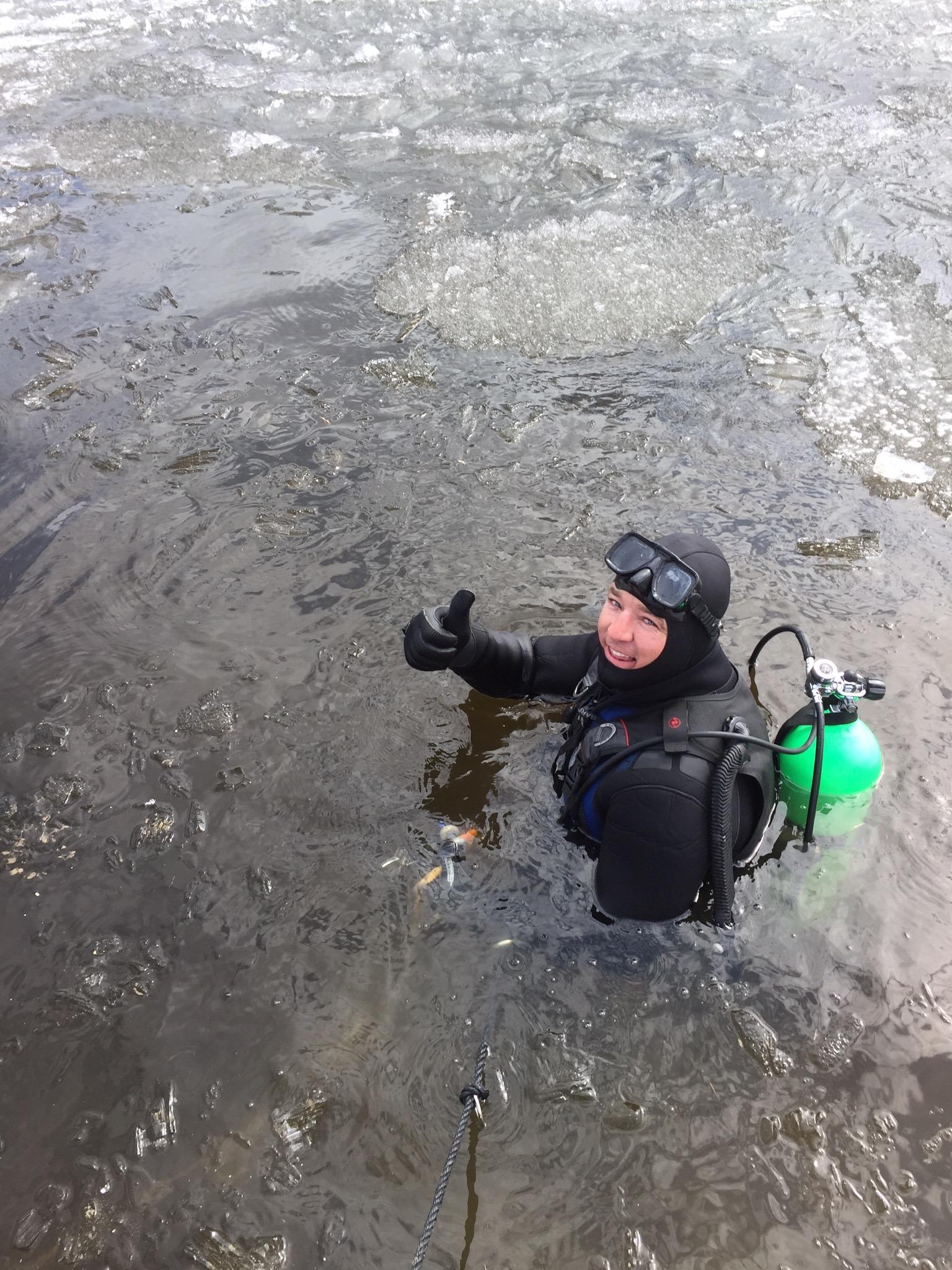 worker in wetsuit